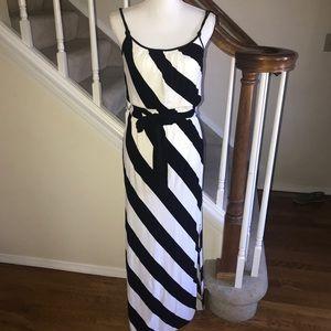 WHBM black and white striped knit maxi dress XS